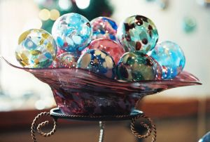 Festive Bowl of Ornaments